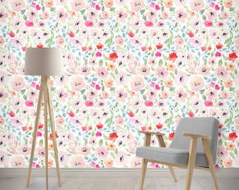 Floral Wallpaper Nursery Girls Room Removable Woven Watercolor