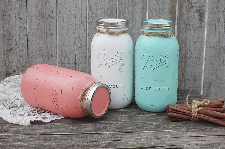 Large Mason Jar Canister Set Kitchen Storage Jars Shabby