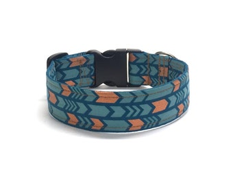 Metallic Chevron Copper Blue Dog Collar