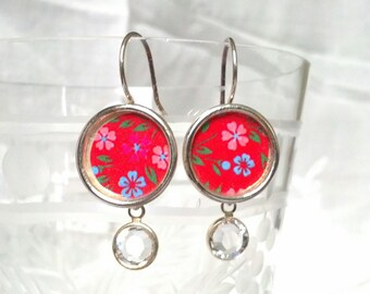 Pretty Red Vintage Calico Dangly Earrings with Sparkling Clear Swarovski Crystals.