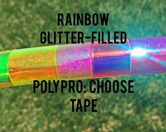 Rainbow Glitter - Filled Taped Polypro - Dance & Fitness Hula Hoop - rainbow, choose your size, goldilocks