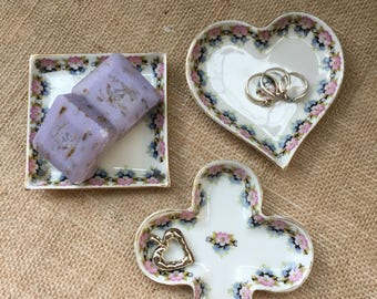 Vintage Trinket Dish--Set of 3 Small Trinket Dishes--Shabby Chic Floral China Dishes--Heart, Square, Clover Petite Trays--Vintage Ring Dish