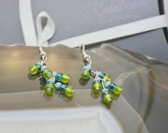 Silver zig zag drop earrings with green and topaz toho beads, wire earrings, seed beads, multicolor