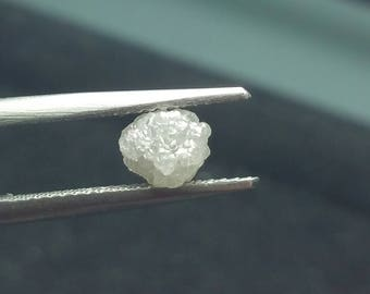 1.55ct 6.3mm silver grey rough diamond 6.3 by 5.65mm approx