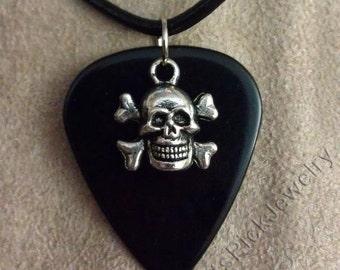 Skull and Crossbones on Black Guitar Pick Necklace