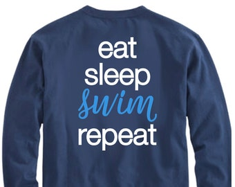 Eat Sleep SWIM Repeat, Swimming SVG, Swimmer svg, Swim svg, Swim shirt, Swim  file, Swim Cricut, Swim Team, iron on, shortsandlemons