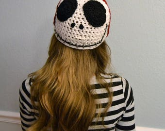 Crochet Nightmare Before Christmas Hat - Jack Skellington and Sally - reversible crochet cartoon hat - crochet hats for boys or girls