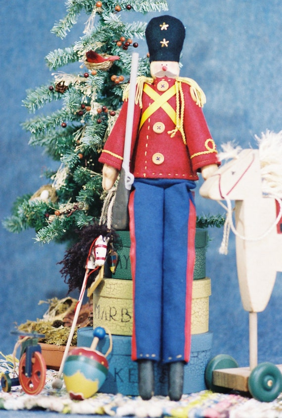 Toy Soldier - Mailed Cloth Doll Pattern - Christmas Toy Soldier Doll