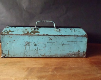 Vintage Industrial Light Blue Military Green Fold Top Utility Tool Box
