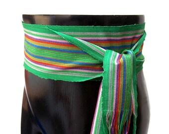Rainbow Green Sash, SA62 - Woven Sash Belt - Guatemalan Fabric - Gypsy Clothing - Bohemian Belt - Ethnic Sash