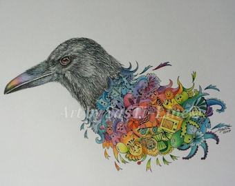 Rainbow Crow-Doodles, limited edition, Doodle Art, pictures, drawing, surreal, coloured, animals, print, swan
