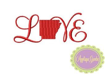 Arkansas Love Machine Embroidery Design