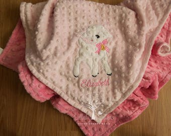 Lamb Personalized Minky Baby Blanket, Lamb Appliqued Minky Blanket,  Personalized Baby Blanket, Personalized  Baby  Girl Blanket