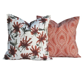 Two Scarlet and grey pillow covers, cushion, decorative throw pillow, Medallion pillow, accent pillow, Red pillow, Floral pillow case