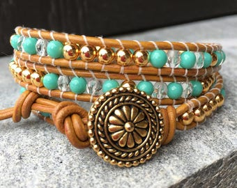 Beaded Leather Wrap Bracelet. Crystal, Turquoise and Gold.