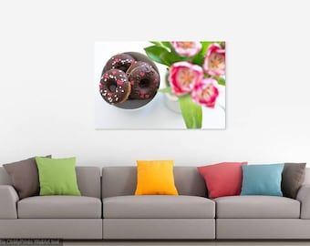 DONUTS AND TULIPS - Food Art - Kitchen Photo - Horizontal Photo - Digital Photo - Digital Download - Instant Download - Wall decor