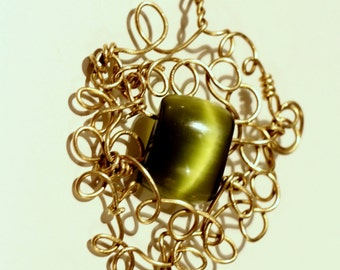 Pendant necklace, cat's eye