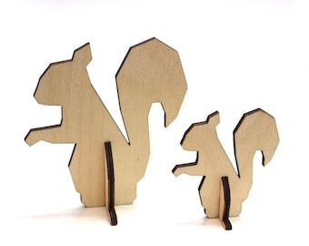 Mother and Baby Squirrel, Laser Cut Animal, Pop up 3D Postcard, Mother's Day