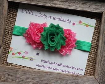 Watermelon baby headband Pink and green headband -watermelon headband watermelon shabby flowers newborn infant toddler headband
