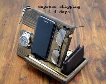 Phone holder, Anniversary Gift for Men, Wood organizer, Docking station, Desk organizer, Wooden phone stand, Gift for him, man gift,