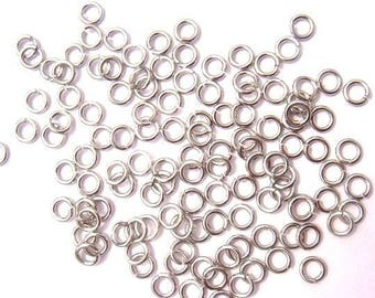 50 silver plated brass 5 mm jump rings