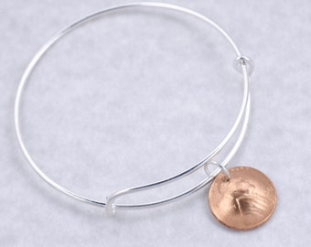 50th Birthday Gift - 50th Anniversary Gift - 1968 Penny Coin Bangle Bracelet Jewelry - Birthday Gift for Mother - Birthday Gift for Sister