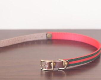 "Custom Leather Red/Green Dog Collar. Italia 1/2"""