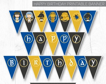Egypt Birthday Banner, Egyptian Birthday Party, Adventure Birthday Party, Printable Banner, Instant Download