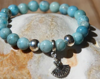hemimorphite with seashell pearl bracelet