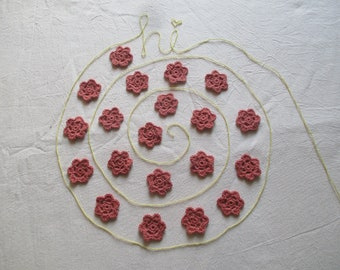 20 Handmade small crochet flower for decorating your craft.
