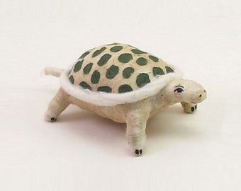 Vintage Inspired Spun Cotton Spotted Turtle Ornament/Figure (MADE TO ORDER)