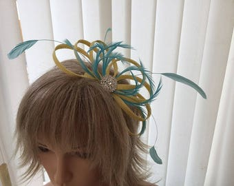 Yellow and turquoise  sinamay fascinator, hair accessories, can be custom made to match your outfit