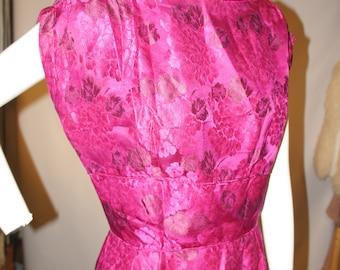 Jahrgang Jacquard lila Seide Midi-Kleid