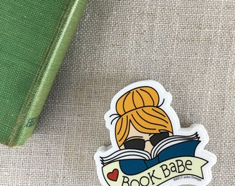 Book Babe Blonde Vinyl Sticker / Reader Gift / Modern Sticker / Laptop Sticker / Girl Sticker / Book Sticker / Waterproof Sticker / Bookworm
