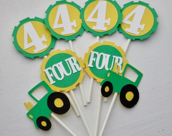 Tractor Cupcake Toppers, John Deere Tractor Cupcake Toppers, Age Cupcake Toppers, Custom Age Tractor Cupcake Toppers