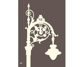 Irish Street Lamp Print (Graphite), The Perfect Gift from Dublin.