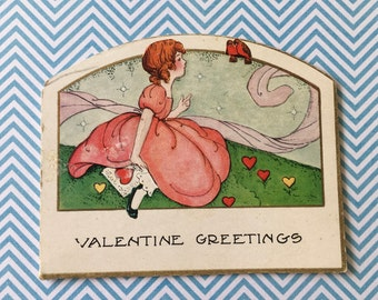 Vintage Valentine Greetings Girl & Birds Whitney Made Die Cut Card 1940's Signed
