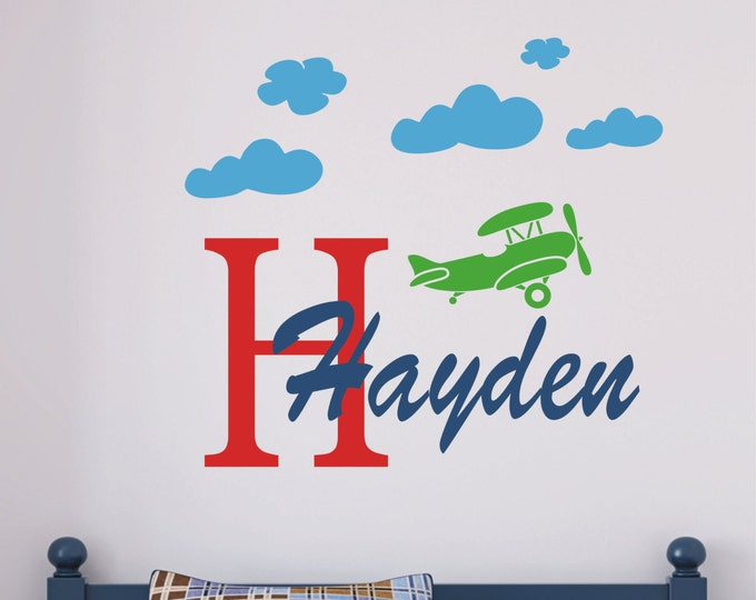 Airplane, Monogram Decal, Kids Room Decals, Wall Decal Boys Room, Custom Vinyl Decal, Kids Room Sign, Nursery Name Sign, Bedroom Wall Art