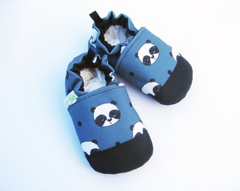 Eco-Canvas Vegan Pandas in Steel Blue / non-slip soft sole baby shoes / made to order / babies toddlers preschool