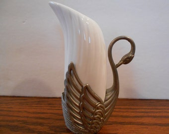 Vintage Silver Plated Swan and Ceramic Vase
