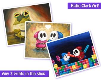 Any 3 Prints - Art Prints - Fan Art Prints - Video Game Art - Nintendo Print - Nintendo Art Print - Original Art Print - Video Game Art