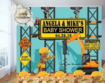 PRINTABLE Baby Under Construction Baby Shower, Caution Baby, Photo backdrop, Construction Baby Shower, Candy Table Backdrop
