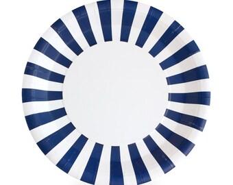 Navy Blue Striped Paper Plates (Set of 12)  sc 1 st  Etsy Studio & Navy Blue Dinner Plates / Navy Striped Paper Plates / Navy Paper ...