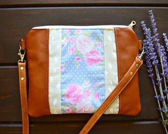 Ready to ship vintage crossbody, floral crossbody bag, vintage floral bag, vintage floral crossbody, spring crossbody, leather crossbody bag