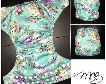 Flowers/turquoise OS Pocket diaper