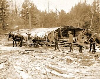 "1880-1910 Arnold Sawmill, Granville, MA Vintage Photograph 8.5"" x 11"" Reprint"