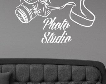 Photography Studio Logo Wall Decal Vinyl Window Sticker Camera Art Decorations for Business Room Office Salon Photo Studio Decor pst1