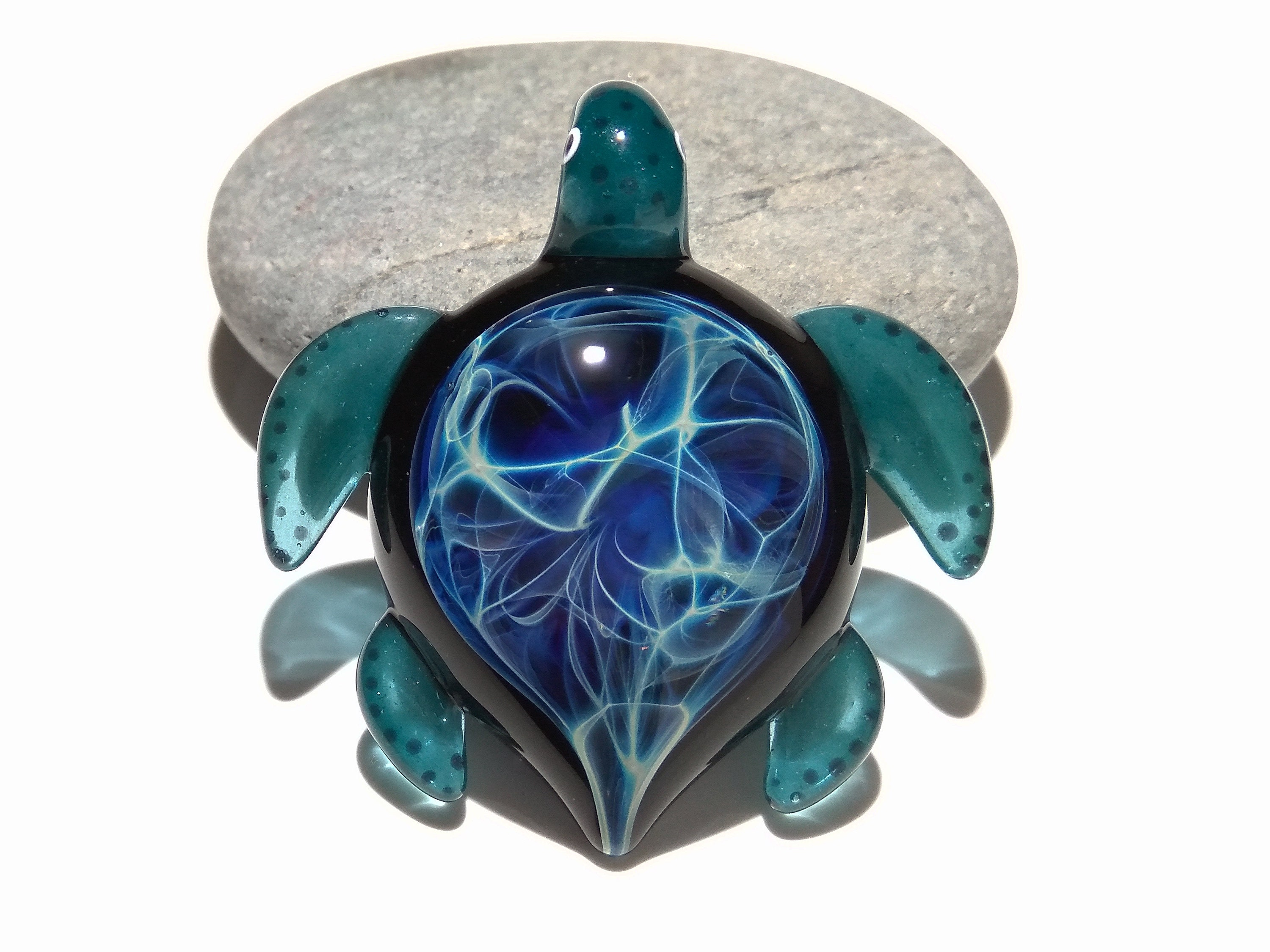 Night sky turtle glass pendant glass jewelry glass art night sky turtle glass pendant glass jewelry glass art turtle blown glass artist signed details of pure silver mozeypictures Images