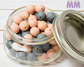 Lot beads silicone 15mm - food beads - teething necklace - round - chewable beads - 10 pieces