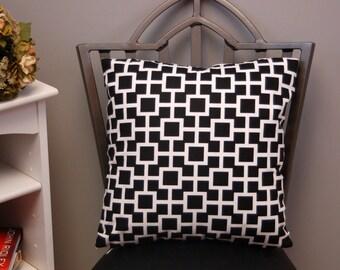 Black White Decorative Throw Pillow Cover 16 X 16 Robert Allen Lattiscape, Accent Sofa Pillow, invisible zipper closure